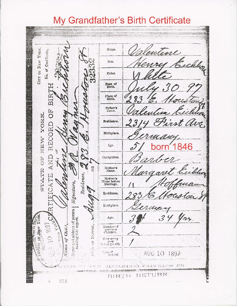 79516valentinebirthcert1897g hit by a taxi in manhattan while crossing the street he broke his leg and died of gangrene poisoning aiddatafo Choice Image